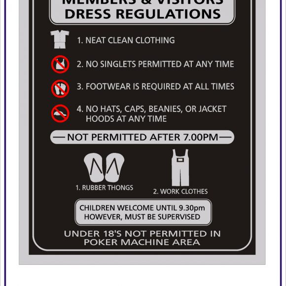 Club Dress Regulation Signs